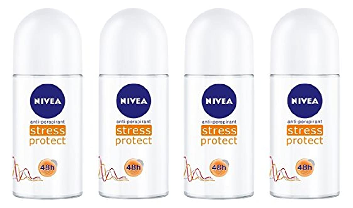 劇的血色の良い慢(Pack of 4) Nivea Stress Protect Anti-perspirant Deodorant Roll On for Women 4x50ml - (4パック) ニベア応力プロテクト制汗剤デオドラントロールオン...