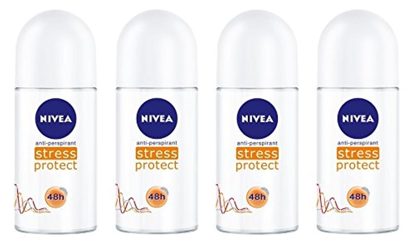 明らか典型的な伝える(Pack of 4) Nivea Stress Protect Anti-perspirant Deodorant Roll On for Women 4x50ml - (4パック) ニベア応力プロテクト制汗剤デオドラントロールオン...