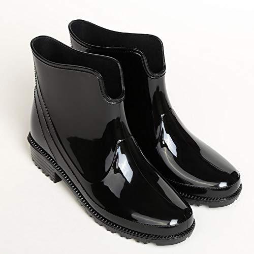 [todaysunny] レインシューズ レディース レインブーツ 軽量 ヒール 長靴 カジュアル おしゃれ 防水 滑り止め 雨靴 梅雨対策 快適ノンスリップ 大きいサイズ ブラック23.0CM