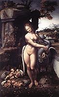 手書き-キャンバスの油絵 - 美術大学の先生直筆 - Leda 1508 レオナルド・ダ・ヴィンチ 絵画 洋画 複製画 ウォールアートデコレーション -20 x 24 インチ