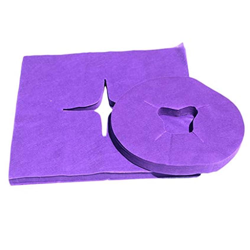 解体する時間同化dailymall 200個の使い捨てフェイスクレードルカバー-マッサージテーブルチェア用の超ソフト、非粘着マッサージフェイスカバーとヘッドレストカバー - 紫の