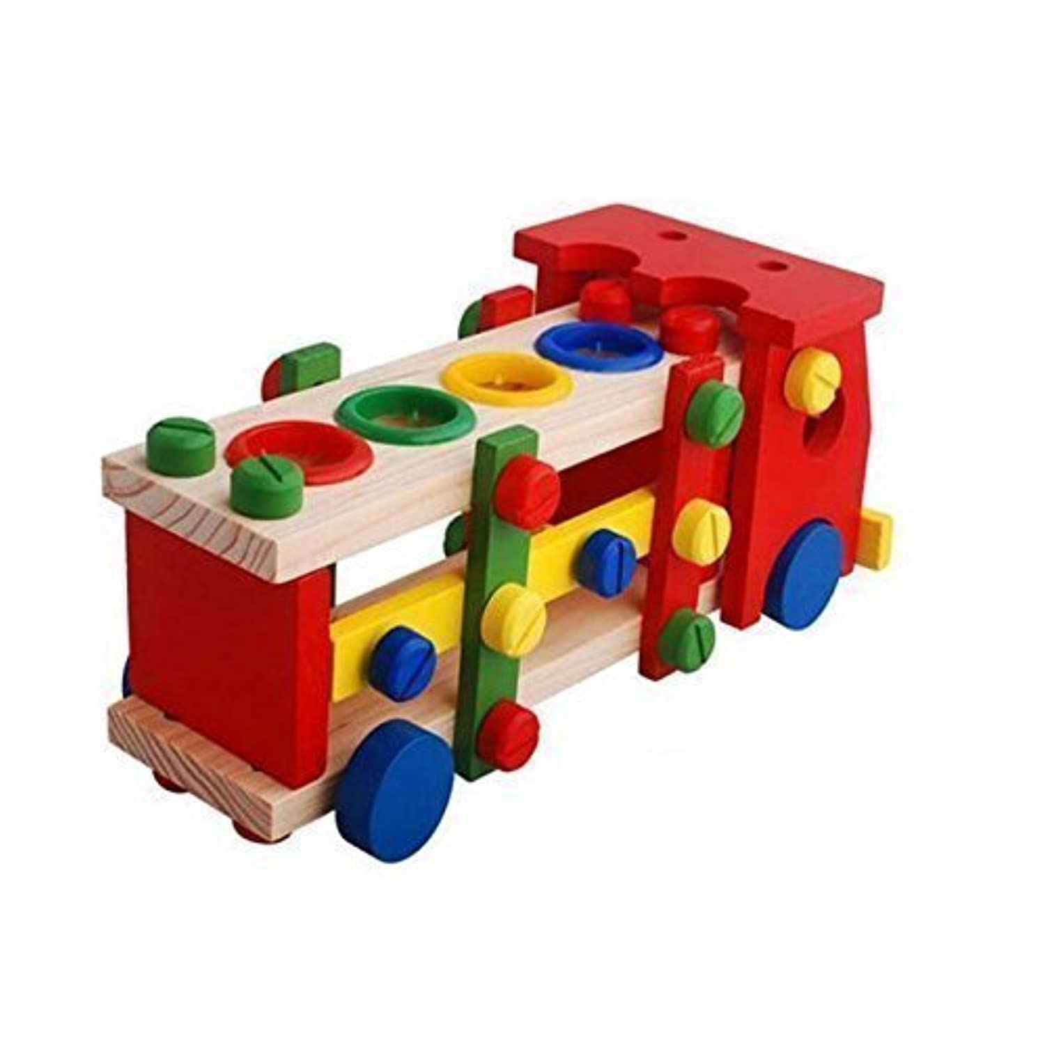 High Grade Detachable Assembling Wooden Toys for Kids, Children's Educational Disassembly Truck Playset [並行輸入品]