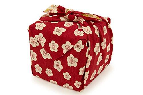 風呂敷 un deau(アンドゥ) 赤 レッド 白 アイボリー 黄色 イエロー バイカラー 梅 花 綿 ふろしき 和装小物 便利小物 和雑貨