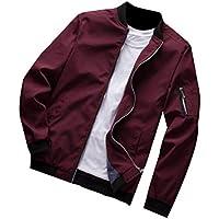 MogogoMen Slim Fit Zip-Front Relaxed Solid Color Long Sleeve Coat Jacket
