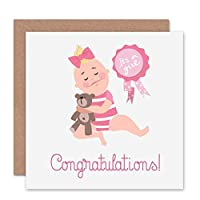 CARD GREETING NEW BABY GIRL CONGRATULATIONS 赤ちゃん女の子