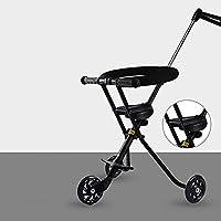 三轮车 3 轮自行车儿童推车三轮车婴儿折叠2-6岁儿童车可调推手柄(颜色:黑色)\t