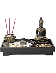 jeteven Buddha Statue Incense Holder Mini瞑想Zen Garden withワックス、お香バーナーホルダースティックホームDecor & Handicraft、8.82