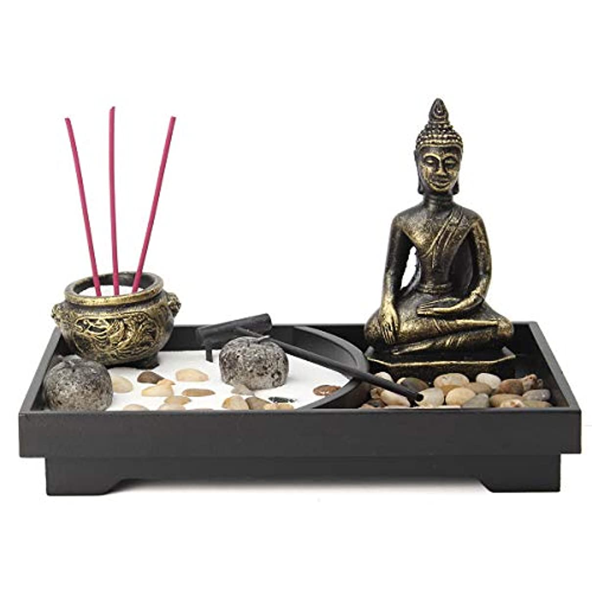 トムオードリース発音フィドルjeteven Buddha Statue Incense Holder Mini瞑想Zen Garden withワックス、お香バーナーホルダースティックホームDecor & Handicraft、8.82