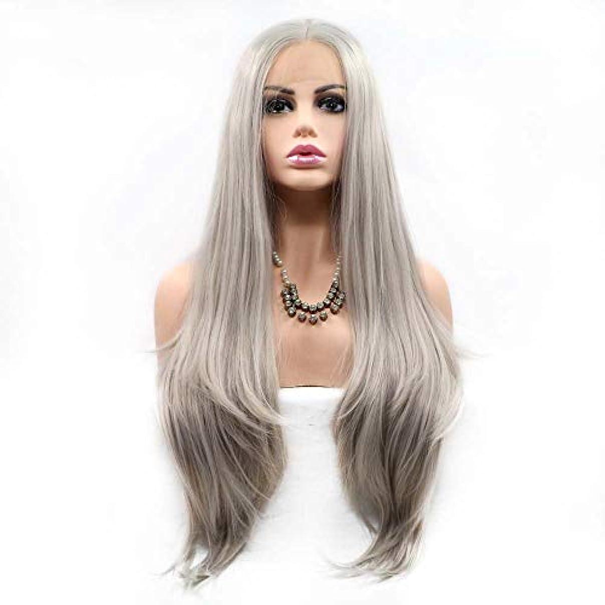 前兆フェリー文明化するZXF 長い髪の高温シルク ローズイントラネットの女性のかつらのフロントレースグレー 美しい