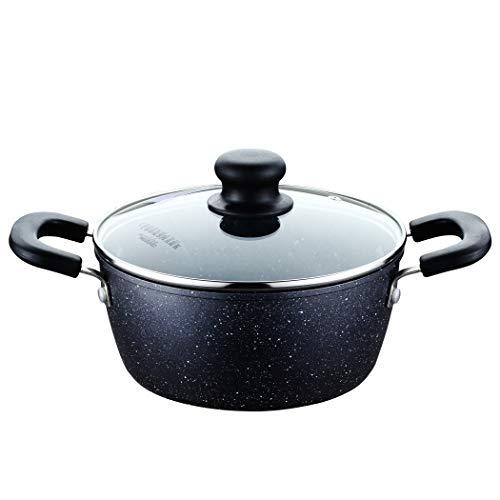 クックスマーク 両手鍋 20cm IH対応オール熱源対応 ガラス鍋蓋付 フッ素加工 ブラック