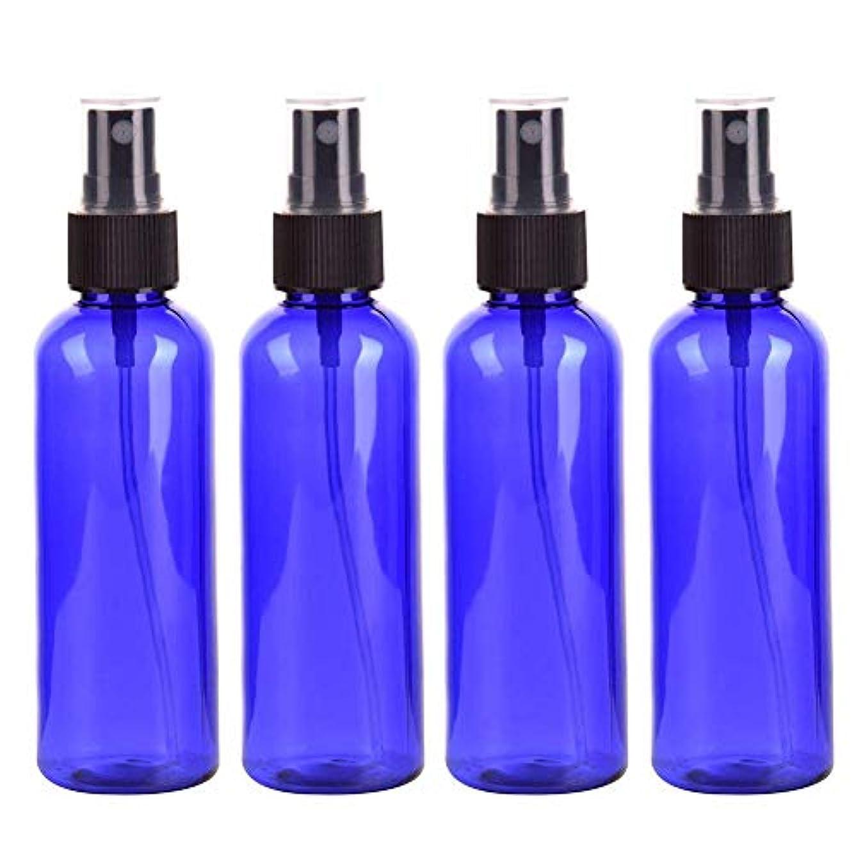 倒産主大混乱Viffly スプレーボトル 保存容器 化粧品ボトル 霧吹き スプレータイプ プラスチック 100ML 4本 (ブルー)