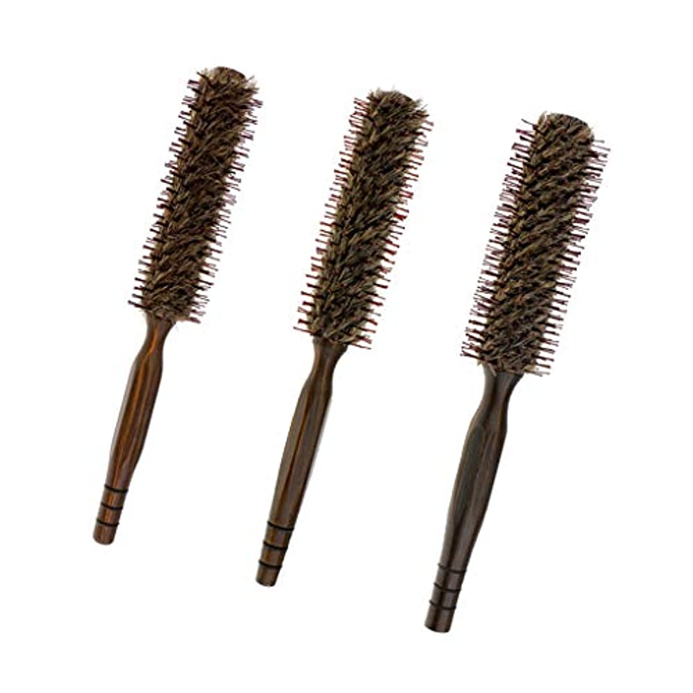 Sharplace 3本 ヘアブラシ 木製櫛 ロールブラシ