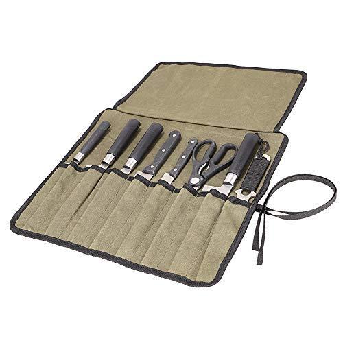QEES 包丁ケース ナイフケース ナイフカバー 収納8本 布巻タイプ 携帯 便利 防水