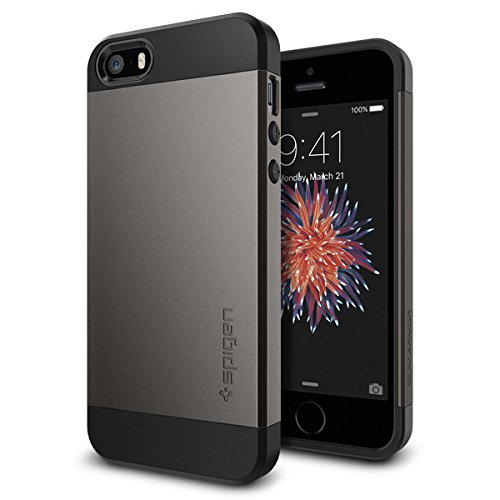 【Spigen】 iPhone SE ケース, スリム・アーマー 【 衝撃吸収パターン加工 】 アイフォン se / 5s / 5 用 カバー (ガンメタル)