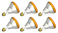 6Qty。Halco 65W br30AMB 130V 5Mプリズムbr30amb65/ 565W 130V白熱Amberプリズムランプバルブ