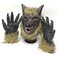 天然ラテックスウルフマスクwith 1ペアWerewolf手手袋