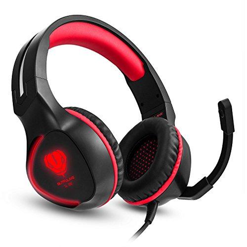 BUTFULAKE ゲーミングヘッドセット ヘッドセット LED付き 高音質 Switch PC PS4 XBOX ONE ゲームに対応 赤