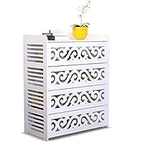 ポーチ防塵靴ラック、家庭用多層アセンブリ靴ラック刻まれた木製靴箱 (色 : 白)