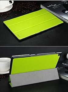 xperia z2 tablet ケース レザー エクスペリアz2 タブレット カバー docomo SO-05F/au SOT21対応 2つ折 手帳型 軽量/薄/革 ブックカバー ケース ソフトケース/ソフトカバー ジャケット 保護ケース/保護カバー プロテクターZ2-TABLET-BE-W40605 (グリーン)