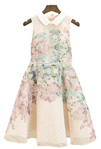 夏 ラペルワンピース 花柄プリント オーガンザシフォンワンピース フレアスカート ノースリーブ 襟付き プリンセスドレス エレガント クマのいぐるみ付き K3938 (S)