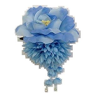 [粋花]Suikaダリア、バラ2輪和装髪飾り39 ブルー