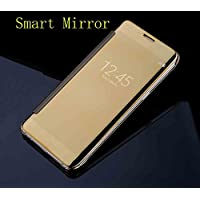 Galaxy Note5 ケース, Translucent Window View Flip カバー, Shiny Plating Make Up Mirror, TAITOU Smart Sleep/Awake Hard Coque For Samsung Galaxy Note 5, Scan QR Package Code, Gold