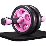 FREETOO 腹筋ローラー 女性 アブホイール エクササイズウィル スリムトレーナー エクササイズローラー 超静音 厚いマット付き (ブラック+ピンク)