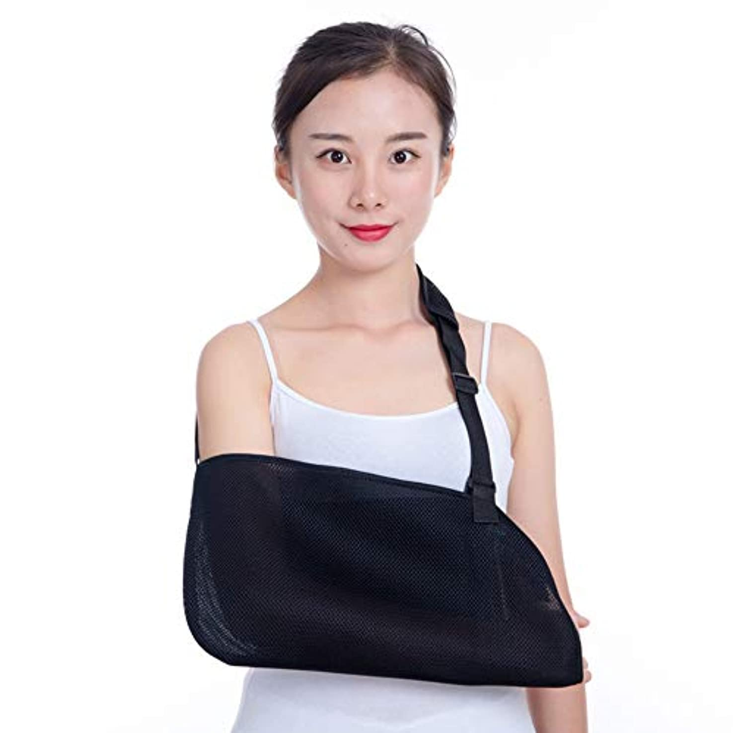 間欠ブロッサムみすぼらしい壊れた手首の肘固定用の成人用通気性メッシュ調節可能な前腕回旋腱板サポート軽量快適のためのアームスリングブレース,Black