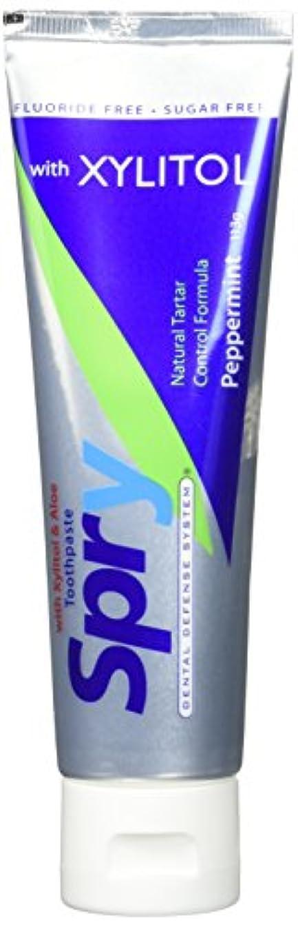 経過でる輪郭Spry Xylitol Toothpaste Pepp No Flr 113 g (order 12 for trade outer) / Spryのキシリトール歯磨き粉PEPPませFLR 113グラム(商品アウター用...