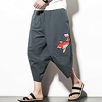 [XINXIKEJI] サルエルパンツ メンズ 七分丈 ハーフパンツ メンズ 大きいサイズ 綿麻 ズボン メンズ おしゃれ ショートパンツ ハロンパンツ カーゴパンツ スポーツ ファッション ゆったり 通気 刺繍パンツ XXXL グレー