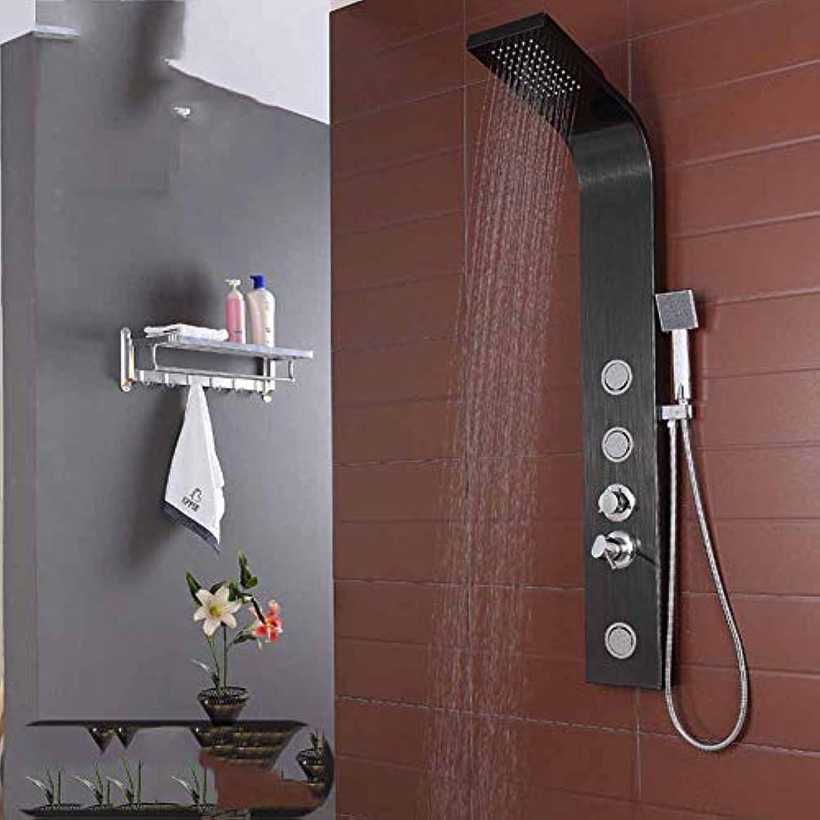 スクレーパー月曜毛皮シャワーシステム、シャワーパネルセットレインフォールシャワーハンドシャワーとボディジェット多機能ノズルマッサージSPAジェット温度ステンレススチールバスルームシャワーミキサーセット (色 : A)