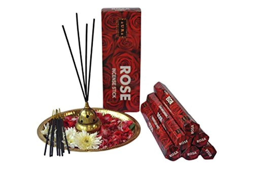 塊一定苦しみオーラローズ香りつきIncense Sticks、プレミアム天然Incense Sticks Hexagonal Packing – 120 Sticks