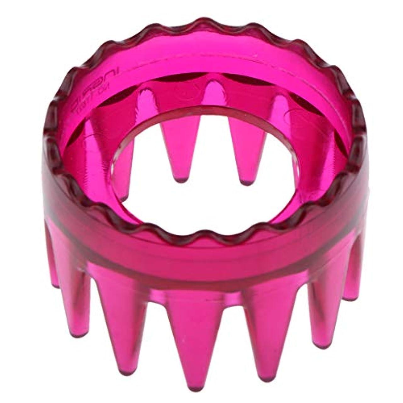前文既にマインド全4色 シャンプーブラシ 洗髪櫛 マッサージャー ヘアコーム ヘアブラシ 直径約6cm プラスチック製 - ローズレッド