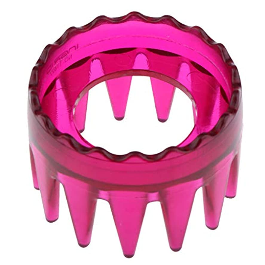 Perfeclan 全4色 シャンプーブラシ 洗髪櫛 マッサージャー ヘアコーム ヘアブラシ 直径約6cm プラスチック製 - ローズレッド