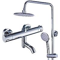 シャワーセット - 調整可能なスライドバーシャワーシステム、レインシャワーとハンドヘルドウォールマウントホルダー、豪華なバスルームシャワーセット