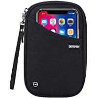 DEFWAY Passport Holder Travel Wallet - Waterproof RFID Blocking Credit Card Organizer Travel Document Bag Ticket Wallet with Strap for Men Women