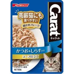 日清ペットフード 猫用ウェットフード キャラット レトルト 高齢猫にも食べやすい細かめフレーク かつお&しらす入り スープ仕立て 60g