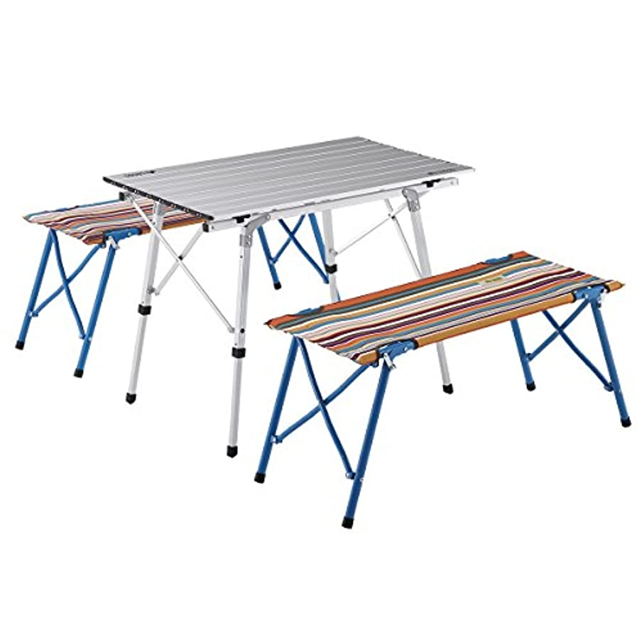 資格湿気の多い監督するロゴス オートベンチテーブルセット4 (ストライプ) 73188001