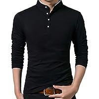 Moly Magnolia Men's Hipster Mandarin Collar Slim Fit Casual Long Sleeve Polo T Shirts
