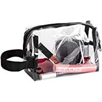 Clear Cosmetic Organizer Pouch for Carrying Makeup, Toiletry, Compact Size with Handle for Portable Use