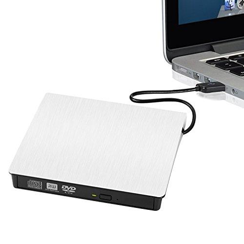 Yokkao 外付けドライブ DVD 外付けプレイヤー USB3.0対応 CD-RW DVD-RW 読み込み ドライブバーナー ノートブック PC用 USBケーブル付き (ホワイト)