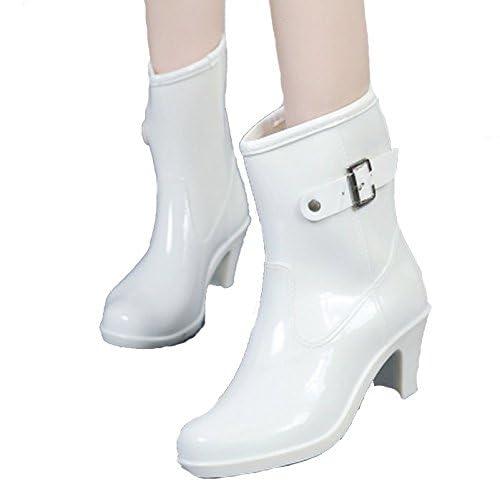 [RSWHYY] レディース レインブーツ ショート ハイヒール 太ヒール マーチンタイプ 晴雨兼用 レインシューズ 雨靴 夏 梅雨対策 防水 滑り止め サイドバックル ホワイト 24.5cm