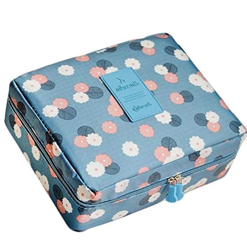 (ジャンーウェ)収納ケース メイクポーチ 大容量 化粧ポーチ 化粧品 収納 雑貨 小物入れ ボックス トラベルバッグ 持ち手 防水 花柄 レモンプリント かわいい