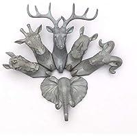 LOBGIHFV 灰色の動物のフックハンガー鹿サイコロの馬のキリン象の頭の壁のハンガー帽子フック樹脂家の装飾