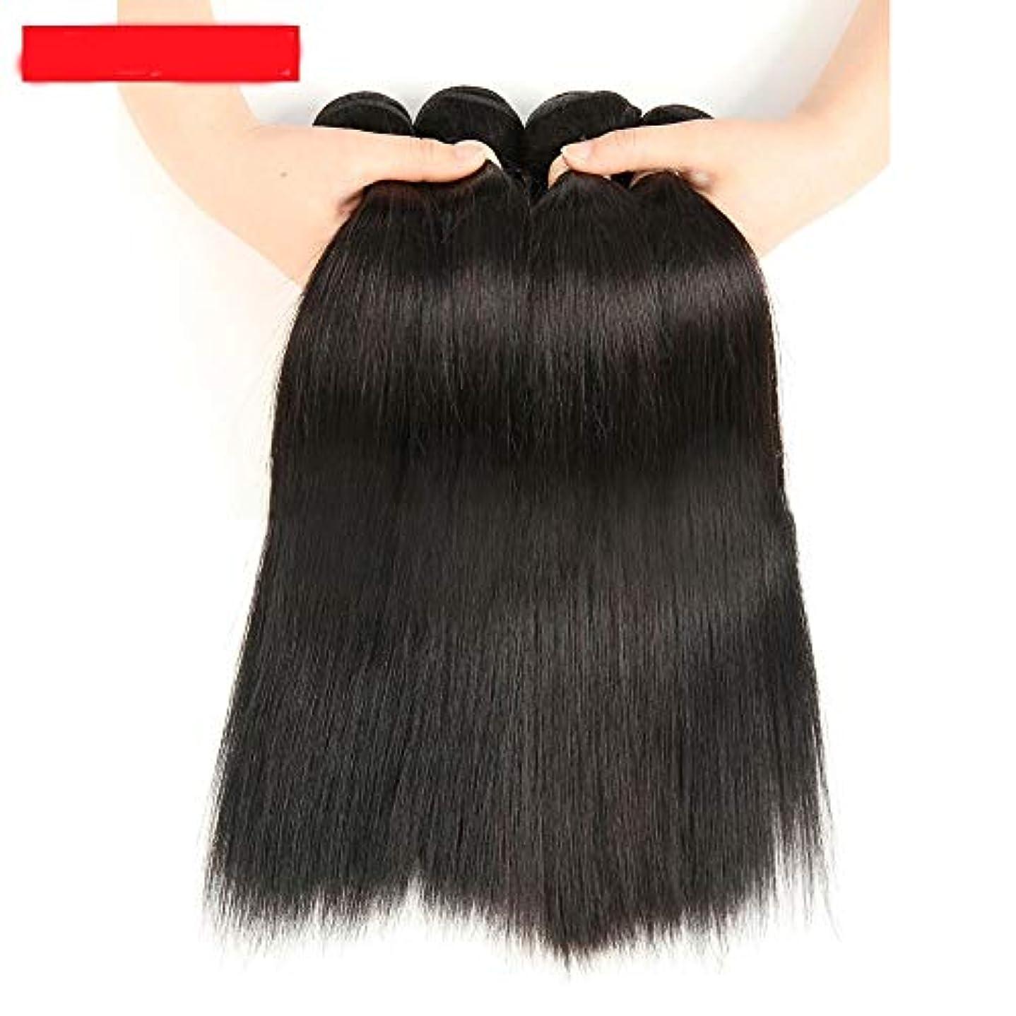 Goodsok-jp 100%加工されていないブラジルの毛の束ブラジルのストレート人間の髪の毛1バンドル自然黒10-28インチ100 g (色 : 黒, サイズ : 24 inch)