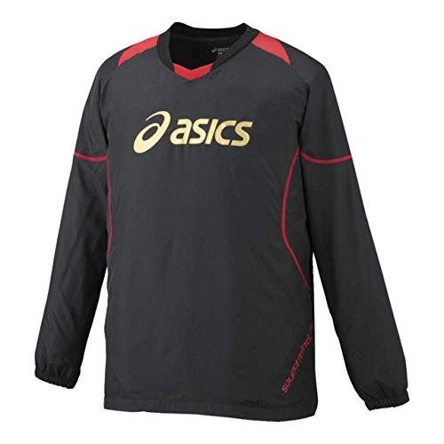 (アシックス)asics バレー長袖ピステ ウオームアップシャツLS XWW621 9024 ブラック/ヴィクトリーレッド XL