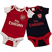 Arsenal FC Fly Emirates Baby Bodysuits (Pack of 2) (UK Size: 6-9 Months) (Red/Black/White)