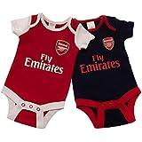 アーセナル フットボールクラブ Arsenal FC オフィシャル商品 赤ちゃん?ベビー用 半袖 ボディースーツ ロンパース (2枚入) (9-12ヶ月) (レッド/ネイビー/ホワイト)