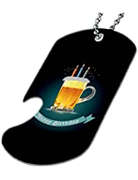 Happy Birthdayビールケーキ – ボトルOpener犬タグネックレス