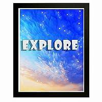心に強く訴えるアート絵画 - 見る - ファンタジー空の背景、アート絵画、装飾的なリビングルーム、オフィス、学校、他の部屋-12 x 10インチのフレーム